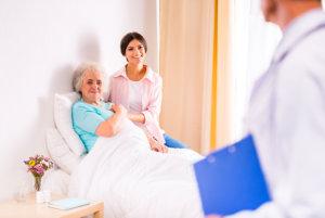 sick senior woman in a hospital